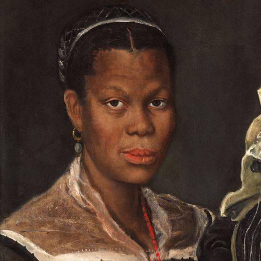 Portrait of an African Woman holding a clock
