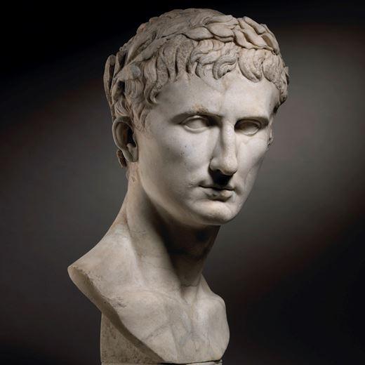 Portrait Head of Emperor Augustus, crowned with a laurel wreath (63 B.C. – 14 A.D.)