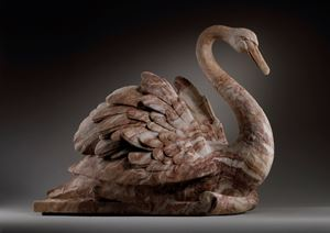 A set of four English alabaster swans