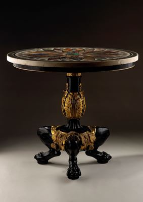 Important pietra dura marble table top, on a bronze and cast iron base