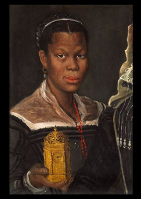 Portrait of an African Woman holding a clock, c. 1583/85