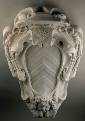 "Ornamental cartouche with the coat-of-arms(""stemma"") of Cardinal Richelieu (1585-1642)"