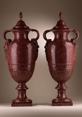 Important pair of large carved Egyptian Porphyry vases and covers